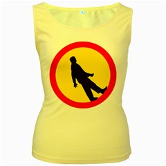 Walking Traffic Sign Womens  Tank Top (Yellow)