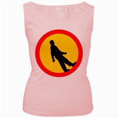 Walking Traffic Sign Womens  Tank Top (Pink)