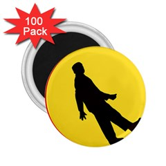 Walking Traffic Sign 2 25  Button Magnet (100 Pack)