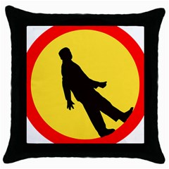 Walking Traffic Sign Black Throw Pillow Case
