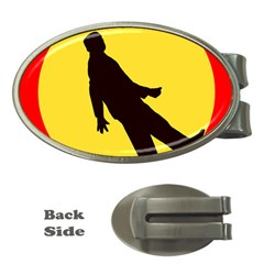 Walking Traffic Sign Money Clip (Oval)