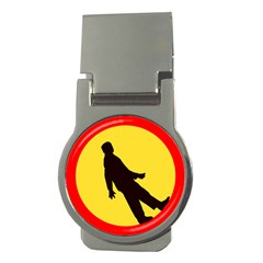 Walking Traffic Sign Money Clip (Round)