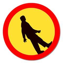 Walking Traffic Sign Magnet 5  (Round)