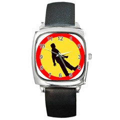 Walking Traffic Sign Square Leather Watch