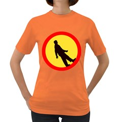 Walking Traffic Sign Womens' T-shirt (Colored)