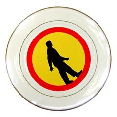 Walking Traffic Sign Porcelain Display Plate