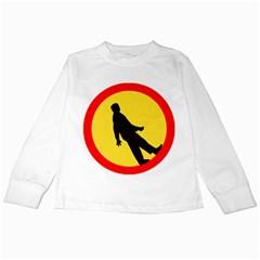 Walking Traffic Sign Kids Long Sleeve T-Shirt