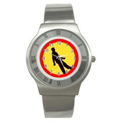 Walking Traffic Sign Stainless Steel Watch (Unisex)