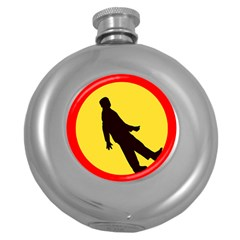 Walking Traffic Sign Hip Flask (Round)
