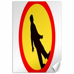 Walking Traffic Sign Canvas 12  x 18  (Unframed)