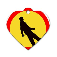 Walking Traffic Sign Dog Tag Heart (Two Sided)