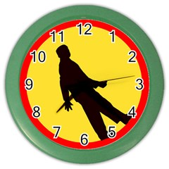 Walking Traffic Sign Wall Clock (color)