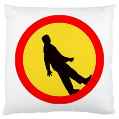 Walking Traffic Sign Large Cushion Case (two Sided)