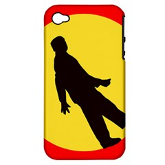 Walking Traffic Sign Apple iPhone 4/4S Hardshell Case (PC+Silicone)