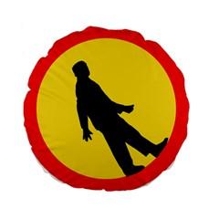Walking Traffic Sign 15  Premium Round Cushion