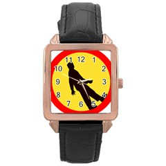 Walking Traffic Sign Rose Gold Leather Watch