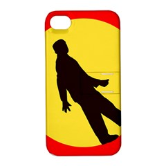 Walking Traffic Sign Apple iPhone 4/4S Hardshell Case with Stand