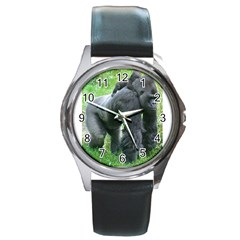 Gorilla Dad Round Metal Watch (silver Rim)
