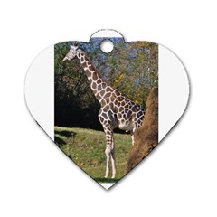 giraffe Dog Tag Heart (One Sided)