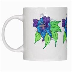 Flower Design White Coffee Mug