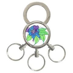 Flower Design 3 Ring Key Chain
