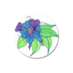 Flower Design Magnet 3  (Round)