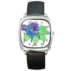 Flower Design Square Leather Watch
