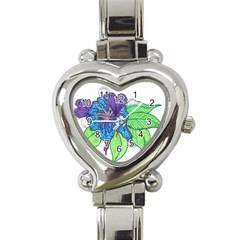 Flower Design Heart Italian Charm Watch