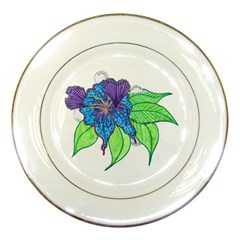 Flower Design Porcelain Display Plate