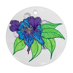 Flower Design Round Ornament (two Sides)