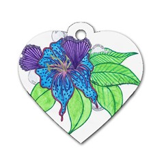 Flower Design Dog Tag Heart (One Sided)
