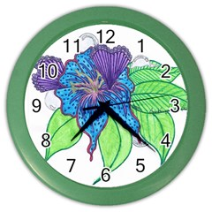 Flower Design Wall Clock (color)