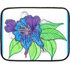 Flower Design Mini Fleece Blanket (Two Sided)