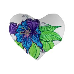 Flower Design 16  Premium Heart Shape Cushion
