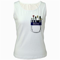 Sonic Pocket Protector Womens  Tank Top (White)