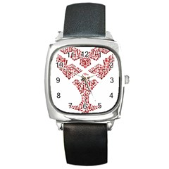 Key Heart 2 Square Leather Watch