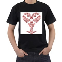 Key Heart 2 Mens' Two Sided T Shirt (black)