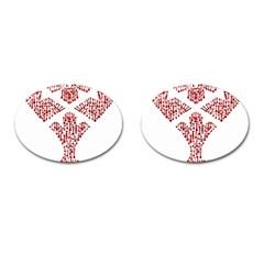 Key Heart 2 Cufflinks (oval)