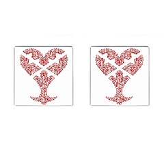 Key Heart 2 Cufflinks (Square)