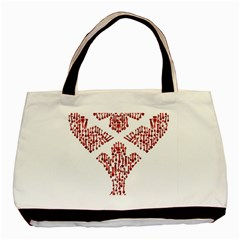 Key Heart 2 Twin-sided Black Tote Bag
