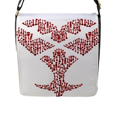 Key Heart 2 Flap Closure Messenger Bag (Large)