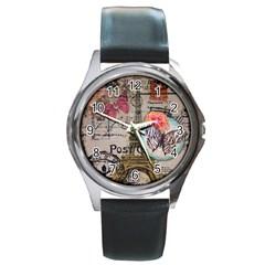 Floral Scripts Butterfly Eiffel Tower Vintage Paris Fashion Round Metal Watch (silver Rim)