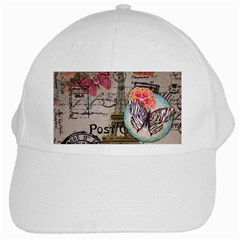 Floral Scripts Butterfly Eiffel Tower Vintage Paris Fashion White Baseball Cap