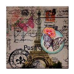 Floral Scripts Butterfly Eiffel Tower Vintage Paris Fashion Ceramic Tile