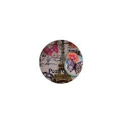Floral Scripts Butterfly Eiffel Tower Vintage Paris Fashion 1  Mini Button Magnet