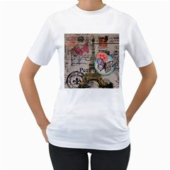 Floral Scripts Butterfly Eiffel Tower Vintage Paris Fashion Womens  T-shirt (White)