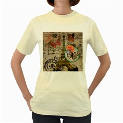 Floral Scripts Butterfly Eiffel Tower Vintage Paris Fashion  Womens  T-shirt (Yellow)