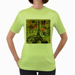 Floral Scripts Butterfly Eiffel Tower Vintage Paris Fashion Womens  T-shirt (Green)
