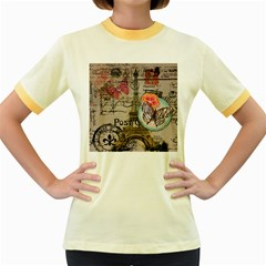 Floral Scripts Butterfly Eiffel Tower Vintage Paris Fashion Womens  Ringer T Shirt (colored)