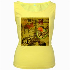Floral Scripts Butterfly Eiffel Tower Vintage Paris Fashion Womens  Tank Top (yellow)